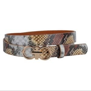 Most Wanted Multi Tone Snake Print Belt W/ Gold